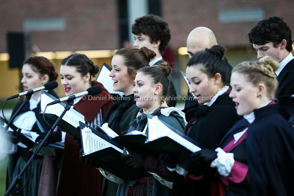 (12/3/15, FRANKLIN, MA) Carolers sing during the Downtown Holiday Stroll at Dean College in Franklin on Thursday. Daily News and Wicked Local Photo/Dan Holmes