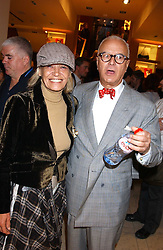 """ANITA PALLENBERG and MANOLO BLAHNIK at a party hosted by Christopher Bailey to celebrate the launch of """"The Snippy World of New Yorker Fashion Artist Michael Roberts"""" held at Burberry, 21-23 New Bond Street, London on 20th September 2005.<br /><br />NON EXCLUSIVE - WORLD RIGHTS"""