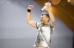 Marko Lopatic proslavlja zmago v finalu na drzavnem prvenstvu veteranskih dvojic v tenisu, 24. marec 2018, BTC Millenium center, Ljubljana, Slovenia. Photo by Vid Ponikvar / Sportida
