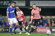 Callum Mcmanaman of Sunderland & Ipswich Town defender Luke Chambers (4) battles for possession during the EFL Sky Bet Championship match between Ipswich Town and Sunderland at Portman Road, Ipswich, England on 26 September 2017. Photo by Phil Chaplin.