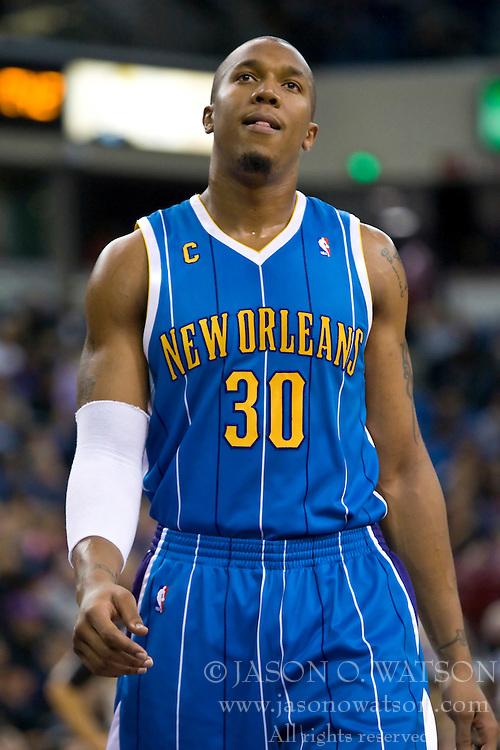 November 29, 2009; Sacramento, CA, USA;  New Orleans Hornets forward David West (30) during the third quarter against the Sacramento Kings at the ARCO Arena.  Sacramento defeated New Orleans 112-96.