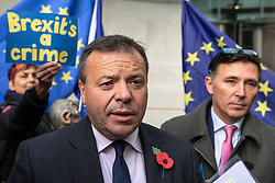 © Licensed to London News Pictures. 04/11/2018. London, UK. Co-founder of the Leave.EU campaign Arron Banks  (L) and Andy Wigmore (R) leave BBC Broadcasting House. Photo credit: Rob Pinney/LNP