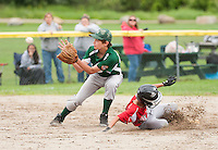 Belmont's Mikey Sprague slides safely into second base ahead of the throw to Newfound's Ryan Coughlin during the U12 Cal Ripken Tournament game at Prescott Park in Meredith Tuesday evening.  (Karen Bobotas/for the Laconia Daily Sun)