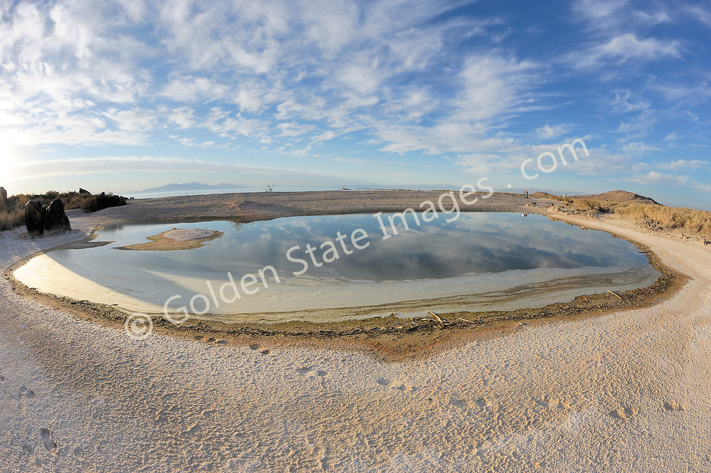The Salton Sea continues to shrink due to evaporation. The water which is left is ever more saline.
