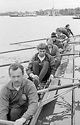 Chiswick. London.<br /> Eights starting from Mortlake<br /> National Squard [Lightweights]<br /> 1987 Head of the River Race over the reversed Championship Course Mortlake to Putney on the River Thames. Saturday 28.03.1987. Stroke Nick HOWELLS,<br /> <br /> [Mandatory Credit: Peter SPURRIER;Intersport images] 1987 Head of the River Race, London. UK