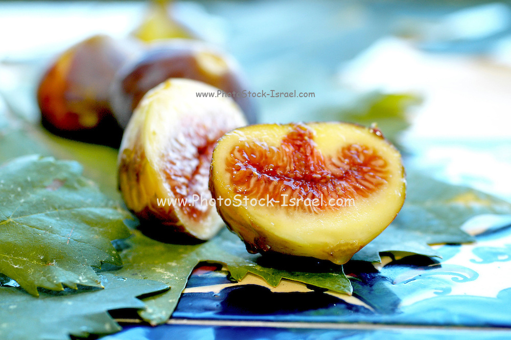 Fresh ripe figs with fig leaves