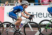 Laura Trott in blue with white helmet. TThe Womens Grand Prix - which is won by Barbara Guarischi. Prudential RideLondon a festival of cycling, with more than 95,000 cyclists, including some of the world's top professionals, participating in five separate events over the weekend of 1-2 August.