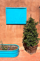 Turquoise Garden Pot and Wooden Sign at Old Town Plaza, Albuquerque, New Mexico