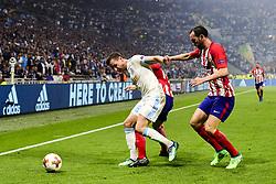 May 16, 2018 - Lyon, France, France - THAUVIN Florian (OM) vs Lucas Hernandez (Atletico) / Diego Godin  (Credit Image: © Panoramic via ZUMA Press)