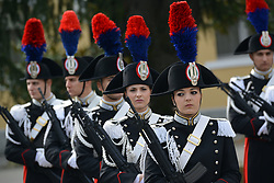 April 1, 2017 - Vicenza, Veneto, Italy - Carabinieri police in dress uniforms stand at attention at the Center of Excellence for Stability Police Units April 1, 2017 in Vicenza, Italy. The center is a train the trainer school developed by the Carabinieri for peace-keeping missions around the world. (Credit Image: © Paolo Bovo/Planet Pix via ZUMA Wire)