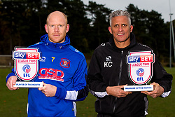 Jason Kennedy of Carlisle United and Manager of Carlisle United Keith Curle pose for a picture with the Sky Bet League Two Player and Manager of the Month Awards for October - Photo mandatory by-line: Robbie Stephenson/JMP - 08/11/2016 - FOOTBALL - Creighton Rugby Club - Carlisle, England - Sky Bet League Two Monthly Awards - October
