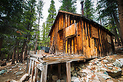 Mining cabins at the Mammoth Consolidated Gold Mine, Inyo National Forest, Mammoth Lakes, California USA