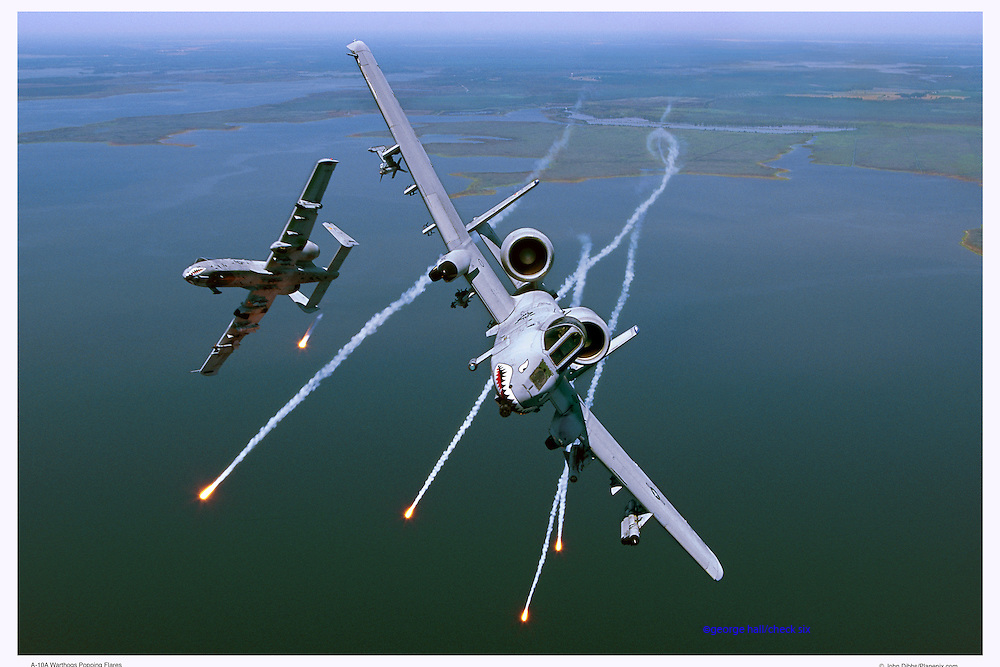 A-10s shooting flares