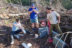 Sarah, Kevin & Damian Putting Traps Together