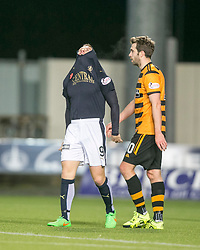 Falkirk's John Baird after missing a chance. <br /> Falkirk 5 v 0 Alloa Athletic, Scottish Championship game played at The Falkirk Stadium.
