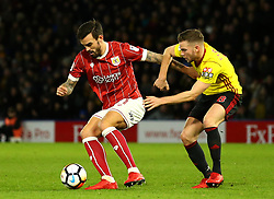 Marlon Pack of Bristol City takes on Tom Cleverley of Watford - Mandatory by-line: Robbie Stephenson/JMP - 06/01/2018 - FOOTBALL - Vicarage Road - Watford, England - Watford v Bristol City - Emirates FA Cup third round proper