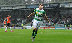 Ryan Bird of Yeovil Town celebrates his sides goal - Photo mandatory by-line: Harry Trump/JMP - Mobile: 07966 386802 - 22/08/15 - SPORT - FOOTBALL - Sky Bet League Two - Yeovil Town v Luton Town - Huish Park, Yeovil, England.