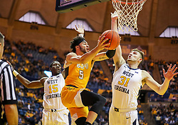 Nov 24, 2018; Morgantown, WV, USA; Valparaiso Crusaders guard Markus Golder (5) drives under the basket during the first half against the West Virginia Mountaineers at WVU Coliseum. Mandatory Credit: Ben Queen-USA TODAY Sports