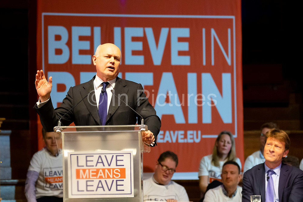 Iain Duncan Smith MP speaking at a 'Brexit:Let's Go WTO Rally' organised by the Leave Means Leave campaign in Westminster, London, UK on January 17, 2019 where leading business and political Brexiteers discussed why WTO rules will allow Great Britain to thrive outside the European Union after Brexit.