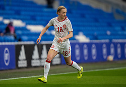 CARDIFF, WALES - Tuesday, April 13, 2021: Denmark's Sara Thrige during a Women's International Friendly match between Wales and Denmark at the Cardiff City Stadium. (Pic by David Rawcliffe/Propaganda)