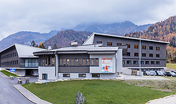 "02.11.2016, Biathlonarena, Hochilzen, AUT, IBU Weltmeisterschaft Biathlon, Hochfilzen, Pressekonferenz 100 Tage, im Bild das Unterkunftsgebäude mit dem Logo der Weltmeisterschaft // The accommodation building with the logo of the World Championships during a Pressconference ""100 Days"" in front of the IBU Biathlon World Championships 2017 at the Biathlonarena, Hochfilzen, Austria on 2016/11/02. EXPA Pictures © 2016, PhotoCredit: EXPA/ JFK"