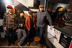 Sean Lichter (L>R), Kazuo Matsumoto, Vasily Kostin and Dmitry Khitrov at a pre-party at the Deus Ex Machina store in the Shibuya district of Tokyo during out Mooneyes Japan tour. Thursday, November 29, 2018. Photography ©2018 Michael Lichter.