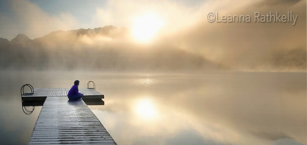 Dock at Alta lake, misty autumn morning