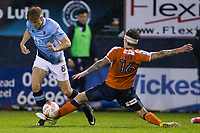 Blackpool's Brad Potts vies for possession with Luton Town's Glen Rea<br /> <br /> Photographer Craig Mercer/CameraSport<br /> <br /> The EFL Sky Bet League Two Play-Off Semi Final Second Leg - Luton Town v Blackpool - Thursday 18th May 2017 - Kenilworth Road - Luton<br /> <br /> World Copyright © 2017 CameraSport. All rights reserved. 43 Linden Ave. Countesthorpe. Leicester. England. LE8 5PG - Tel: +44 (0) 116 277 4147 - admin@camerasport.com - www.camerasport.com