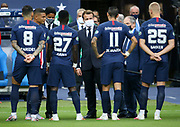 Players of PSG are presented to French President Emmanuel Macron by their captain Thiago Silva before the French Cup final football match between Paris Saint-Germain (PSG) and AS Saint-Etienne (ASSE) on Friday 24, 2020 at the Stade de France in Saint-Denis, near Paris, France - Photo Juan Soliz / ProSportsImages / DPPI