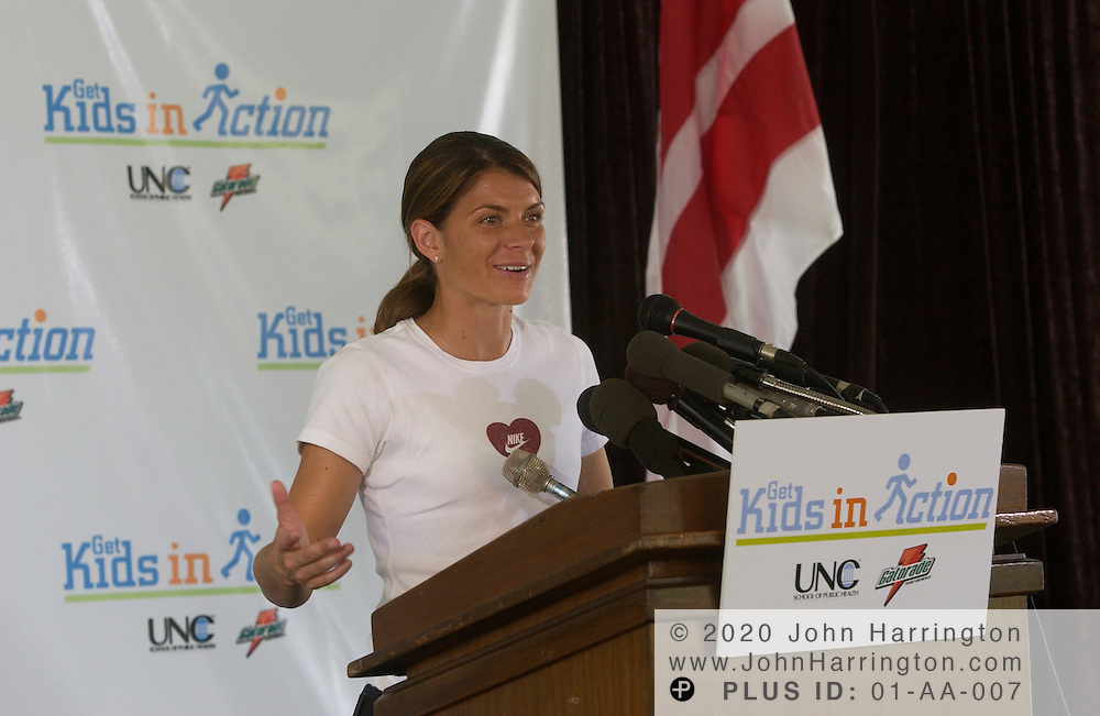 """Mia Hamm, star of Team USA's female soccer squad makes an apperance at """"Kids in Action,"""" on Monday July 21, 2003."""