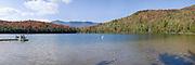 Dock on Heart Lake, Lake Placid in Fall.