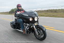 AJ Smith of Indian Motorcycles riding a 2017 Indian Chieftain during Daytona Beach Bike Week. FL. USA. Monday March 13, 2017. Photography ©2017 Michael Lichter.