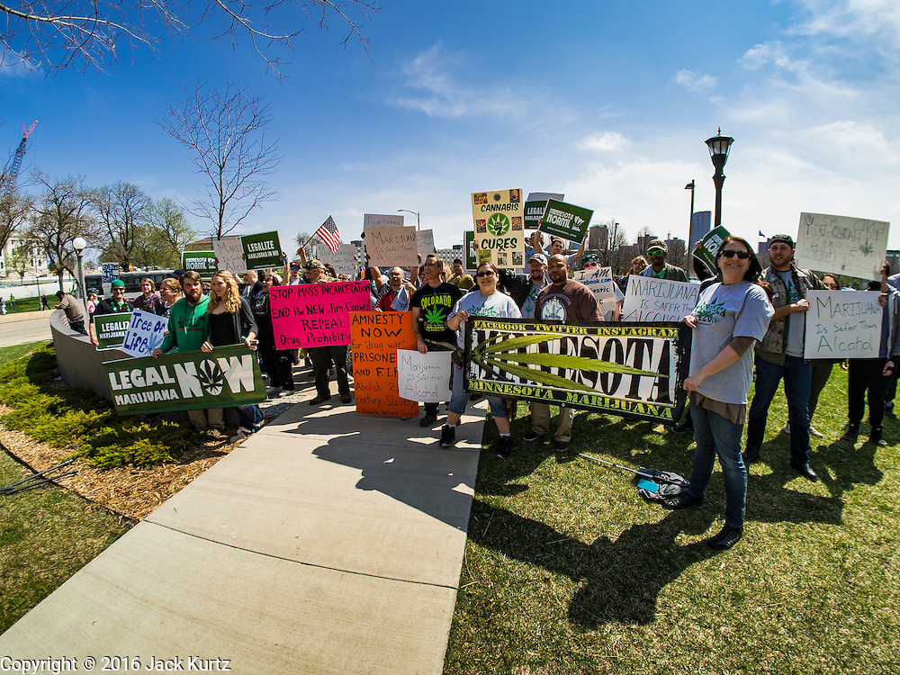 20 APRIL 2016 - ST. PAUL, MN: Advocates for marijuana legalization in St. Paul. About 100 people gathered at the Minnesota State Capitol in St. Paul and marched through downtown St. Paul calling for the decriminalization of marijuana. April 20 (4/20) has become a sort of counter culture holiday in the US, with marches in many cities calling for the legalization of marijuana.      PHOTO BY JACK KURTZ