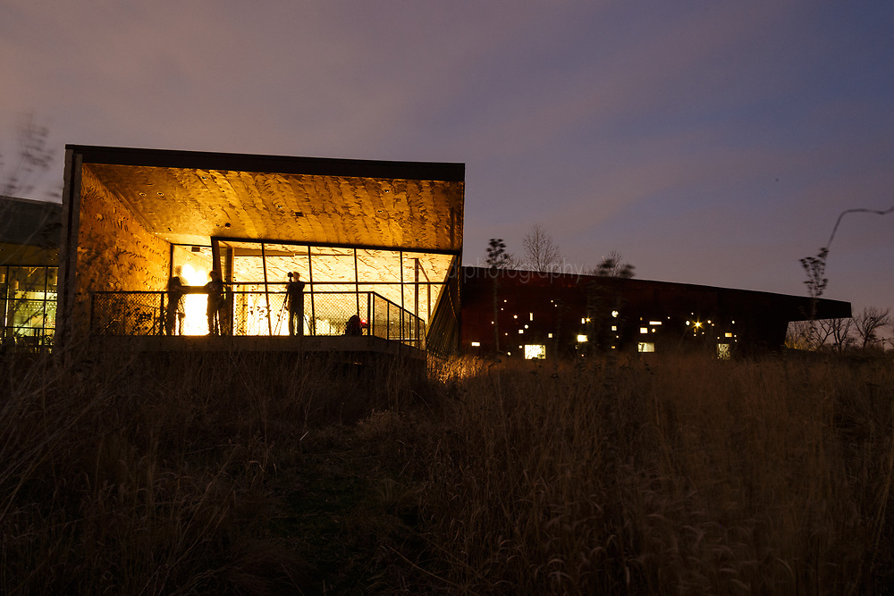 Trinity River Audubon Center building at dusk, Dallas, Texas, USA.  Designed by Antoine Predock.