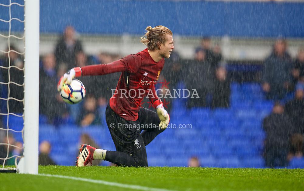 LIVERPOOL, ENGLAND - Saturday, April 7, 2018: Liverpool's goalkeeper Loris Karius in the rain during the pre-match warm-up before the FA Premier League match between Everton and Liverpool, the 231st Merseyside Derby, at Goodison Park. (Pic by David Rawcliffe/Propaganda)