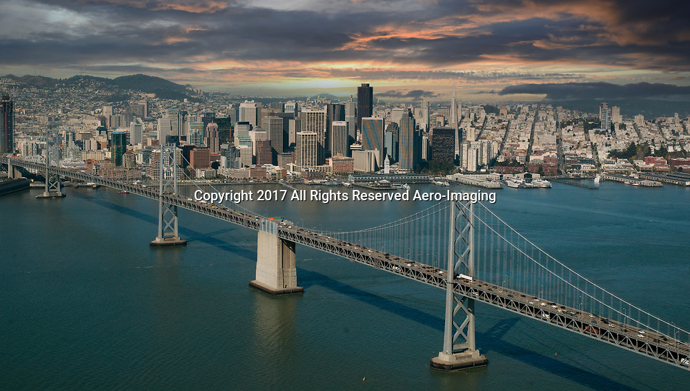 Aerial view of the San Francisco California and the Oakland Bay Bridge