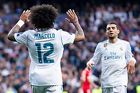 Real Madrid Marcelo and Mateo Kovacic during Semi Finals UEFA Champions League match between Real Madrid and Bayern Munich at Santiago Bernabeu Stadium in Madrid, Spain. May 01, 2018. (ALTERPHOTOS/Borja B.Hojas)