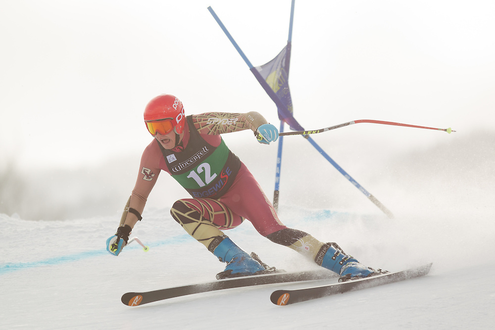 Chase Ryan of Boston College, skis during the first run of the men's giant slalom at the Colby College Carnival at Sugarloaf Mountain on January 17, 2014 in Carabassett Valley, ME. (Dustin Satloff/EISA)