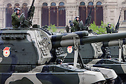 Moscow, Russia, 06/05/2010..Commanders on Russian mobile howitzers salute during a Red Square rehearsal for the forthcoming May 9 Victory Day parade, scheduled to be the largest for many years.