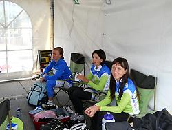 Tjasa Rutar (Slovenia), Polona Batagelj (Slovenia) and Alenka Novak (Slovenia) during  the Women´s Elite Road Race on day five of the UCI Road World Championships on September 24, 2011 in Copenhagen, Denmark. (Photo by Marjan Kelner / Sportida Photo Agency)