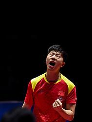 SHENZHEN, June 2, 2018  Ma Long of China celebrates after winning the men's singles quarterfinal match against Liang Jingkun of China at the 2018 ITTF World tour China Open in Shenzhen, south China's Guangdong Province, June 2, 2018. Ma Long won 4-3. (Credit Image: © Mao Siqian/Xinhua via ZUMA Wire)