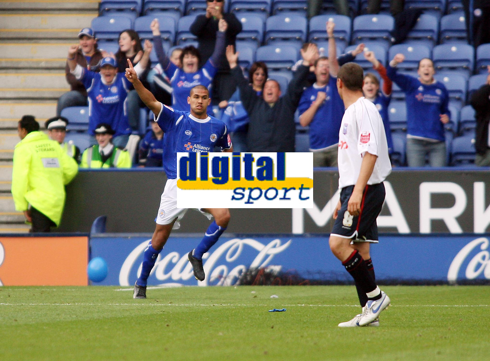 Photo: Chris Ratcliffe.<br />Leicester City v Ipswich Town. Coca Cola Championship. 12/08/2006.<br />Patrick Kisnorbo celebrates putting Leicester into a 1-0 lead.