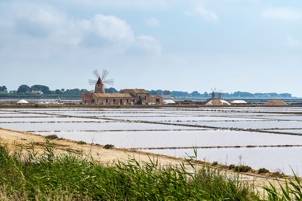 Ettore and Infersa windmill and salt pans of Trapani at Marsala, Sicily, Italy