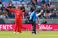 Moeen Ali of Worcestershire asking for stump alignment during the Vitality T20 Finals Day Semi Final 2018 match between Worcestershire Rapids and Lancashire Lightning at Edgbaston, Birmingham, United Kingdom on 15 September 2018.