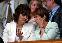 Prime Ministers wife Cherie Blair (left) with Sports Minister Tessa Jowell at the Mens Singles Final. Wimbledon Tennis Championship, Day 13, 6/07/2003. Credit: Colorsport / Matthew Impey DIGITAL FILE ONLY