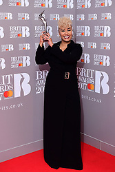 Emeli Sande with her award for Best British Female Solo Artist in the press room during the Brit Awards at the O2 Arena, London.