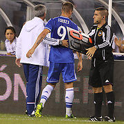Fernando Torres, Chelsea, is replaced by Romelu Lukaku as coach Jose Mourinho congratulates him during the Chelsea V AC Milan Guinness International Champions Cup tie at MetLife Stadium, East Rutherford, New Jersey, USA.  4th August 2013. Photo Tim Clayton