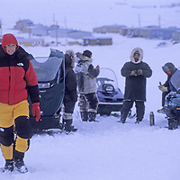 BAFFIN ISLAND, Nunavut, Canada. Snowmobiles carrying Great Sail Peak expedition break down just after leaving Clyde River.
