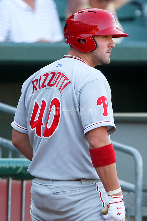 Matt Rizzotti (40) of the Reading Phillies on July 30, 2011 at Northeast Delta Dental Stadium in Manchester, New Hampshire. Photo by Brace Hemmelgarn