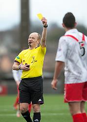 Ref Matt Northcroft gives Airdrie United's Rikki Lamie a yellow card..Airdrie United 0 v 1 Falkirk, 30/3/2013..©Michael Schofield..